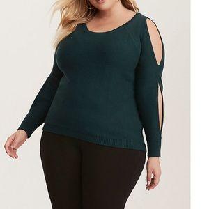 Torrid Emerald Green Split Sleeve Sweater